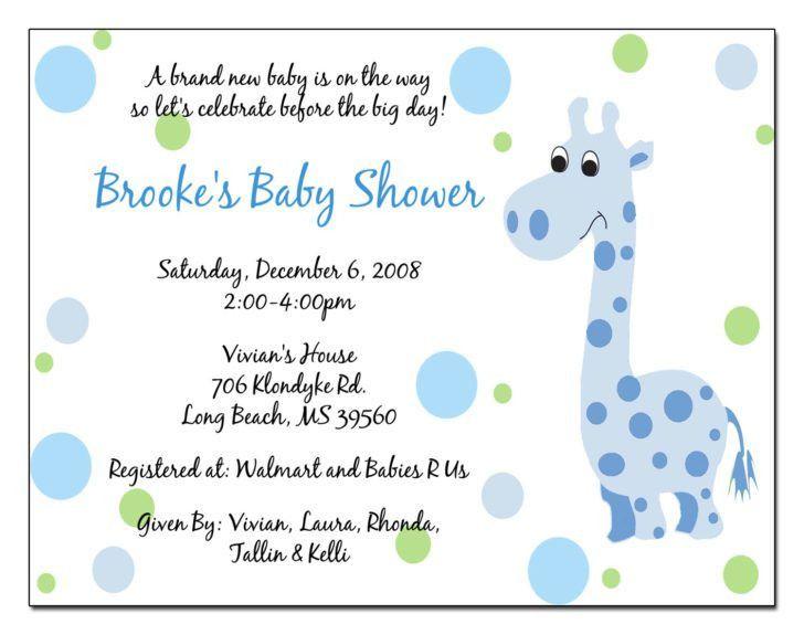 Giraffe Baby Shower Invitation Wording Light Blue and Black Text ...