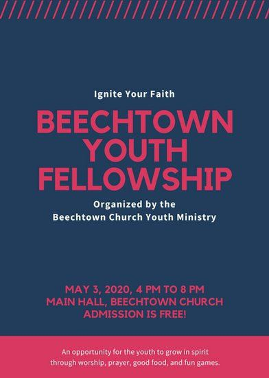 Red and Blue with Lines Youth Group Church Flyer - Templates by Canva
