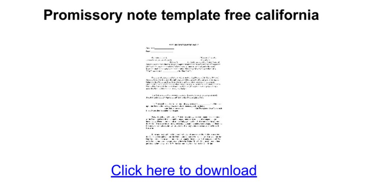 Promissory note template free california - Google Docs