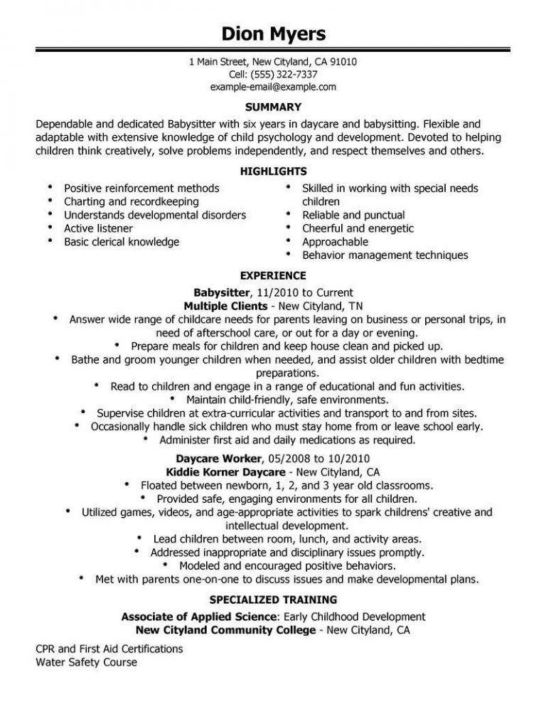 Precious Babysitting Resume 3 Best Babysitter Resume Example ...
