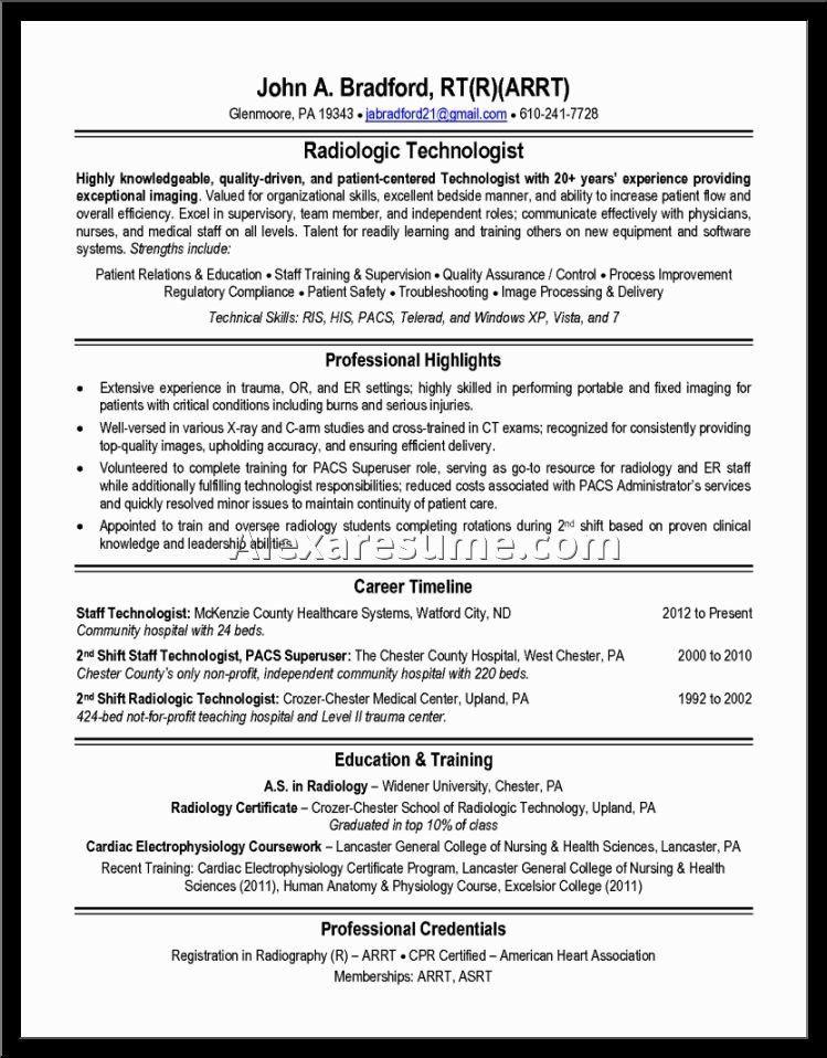 Radiologic Technologist Resume Sample Free Download Eager World ...