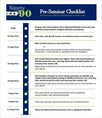 Seminar Checklist Template - 7+ Free Sample, Example, Format ...