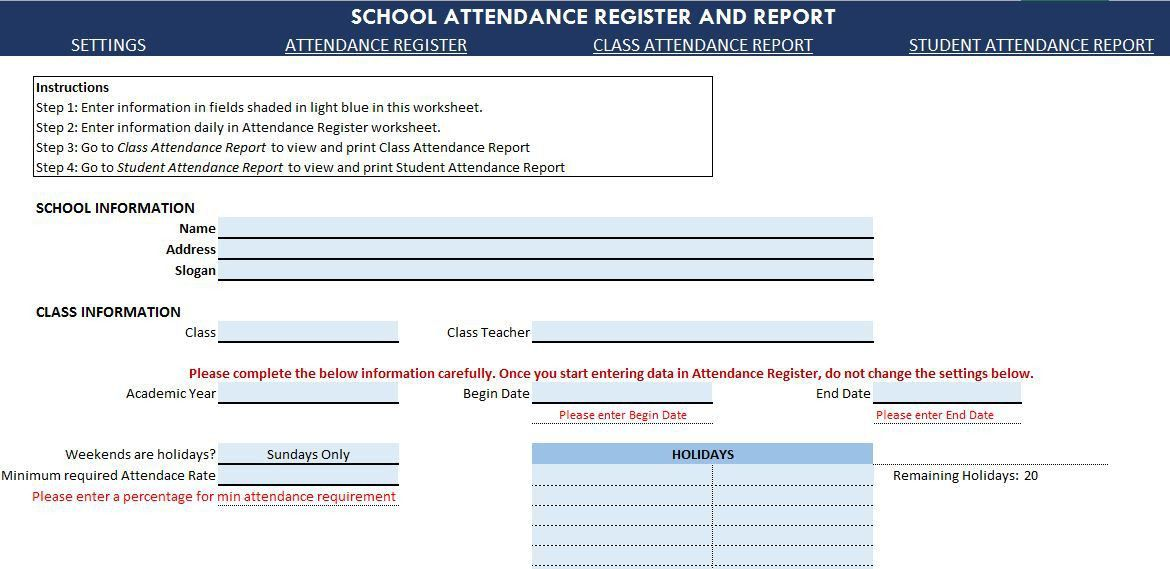 School Attendance Register and Report - Free Excel Template - v1