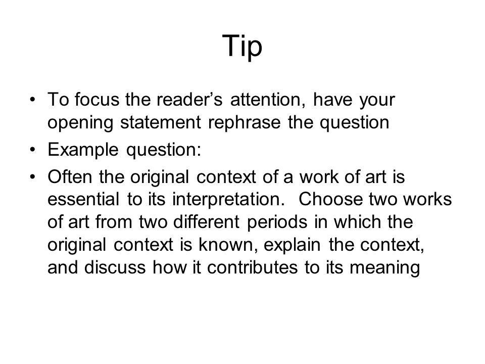 Free-Response Tips & Sample Questions Tips taken from Barron's ...