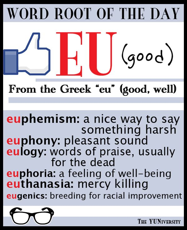 "The YUNiversity on Twitter: ""Word Root: EU (good) Example words ..."