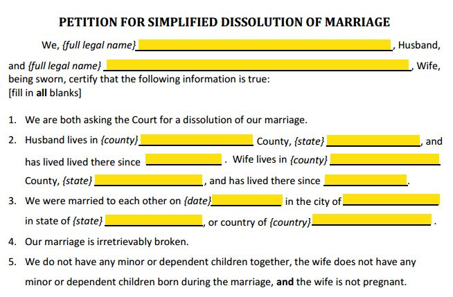 Form 12.901(a) Petition for Simplified Divorce Explained