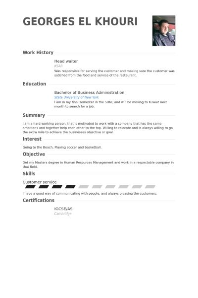 head waiter resume samples visualcv resume samples database
