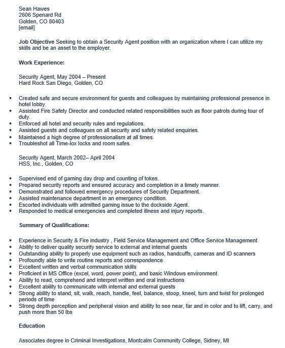 hotel security resume professional hotel security guard templates