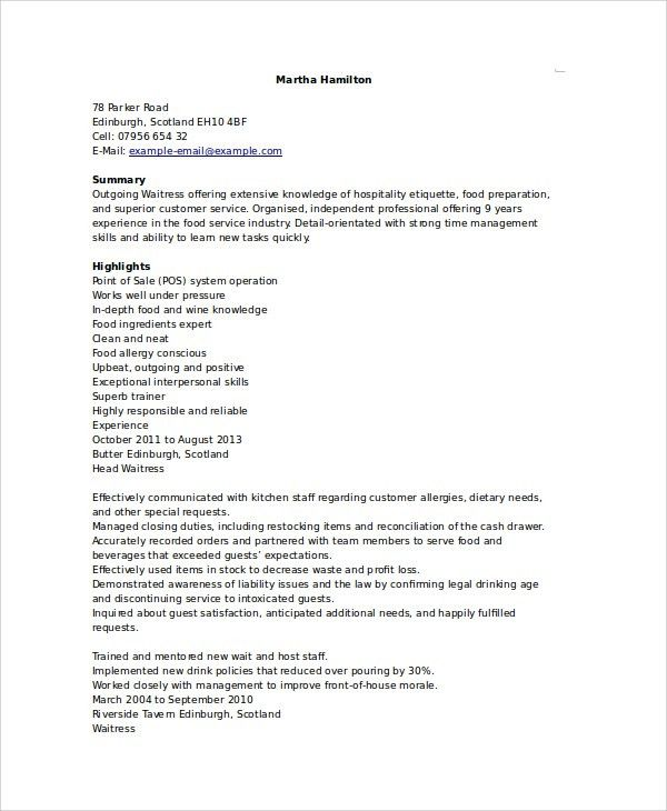 waitress resume sample process worker cover letter why this ...