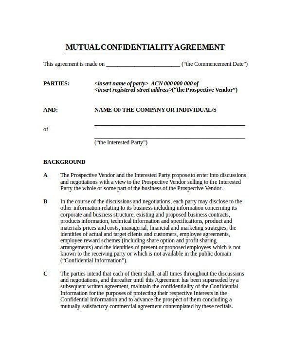 17+ Confidentiality Agreement Templates   Free Sample, Example .
