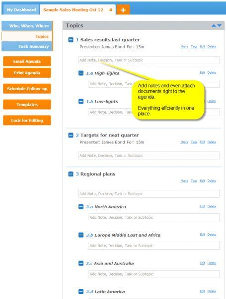 sample sales meeting agenda template in MeetingKing - Meeting ...