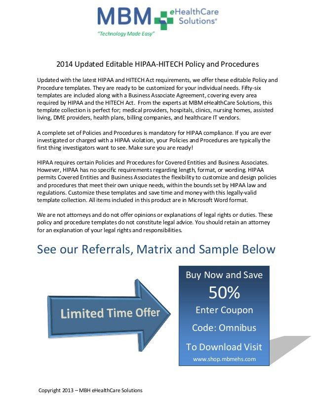 2014 updated editable hipaa hitech policy and procedures