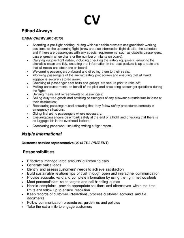 resume format for cabin crew excellent cabin crew resume sample