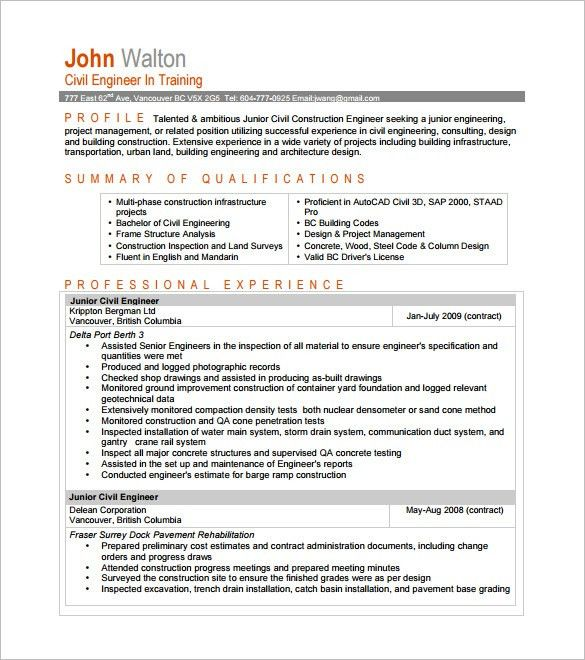 civil engineering student resume civil engineer resume template