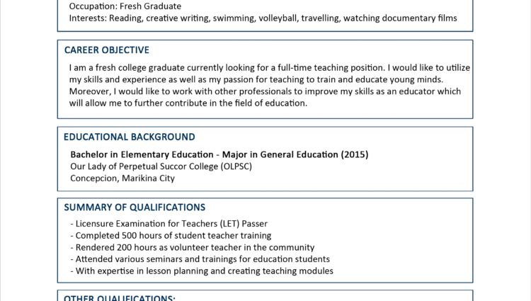 Sample Resume Format for Fresh Graduates cv for fresh graduate ...