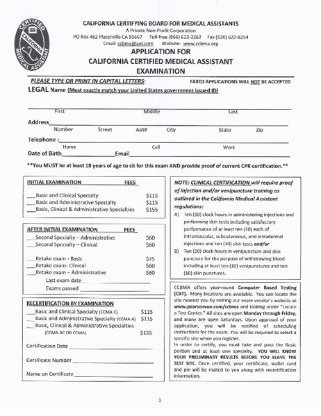 Examination - California Certifying Board for Medical Assistants