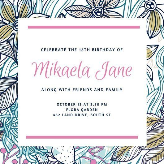 Pink Pattern Floral 18th Birthday Invitation - Templates by Canva
