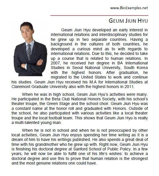 Example Resume Professional Biography Examples   Create ...