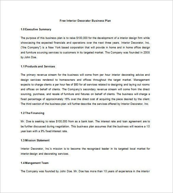 Interior Design Business Plan Template – 6+ Free Word, Excel, PDF ...