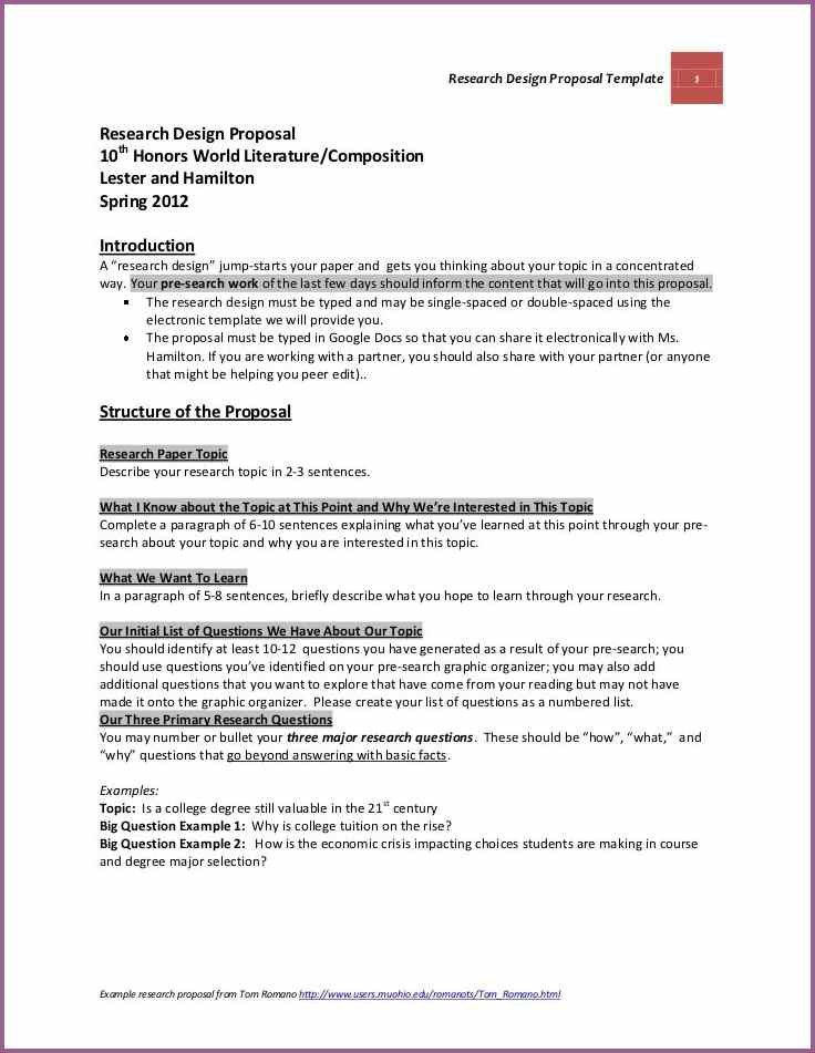 RESEARCH DESIGN EXAMPLES FOR RESEARCH PROPOSAL ...