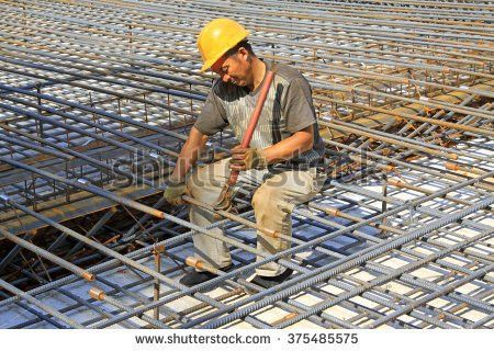Ironworker Workers Working On Concrete Reinforcements Stock Photo ...