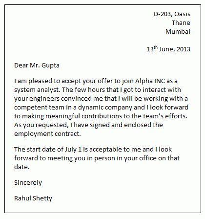 Job acceptance letter sample