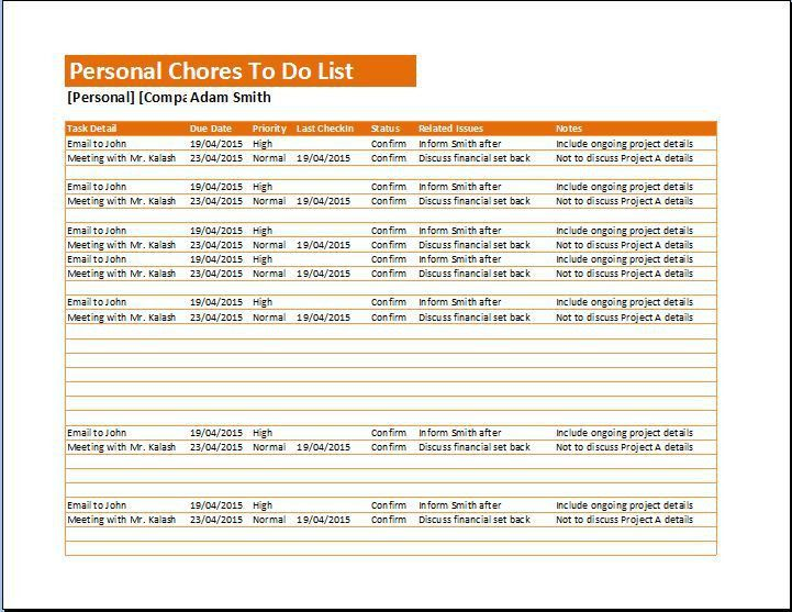 Personal Chores To Do List Template | Formal Word Templates
