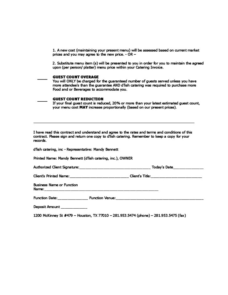 catering contracts samples