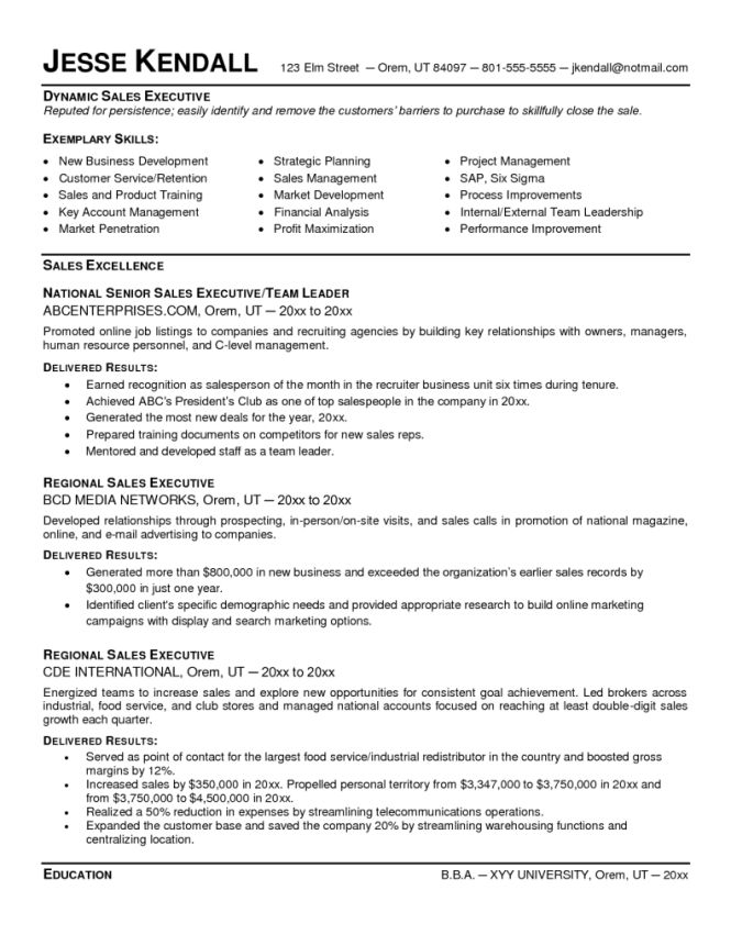 Sales Executive Resume Template - Resume Sample