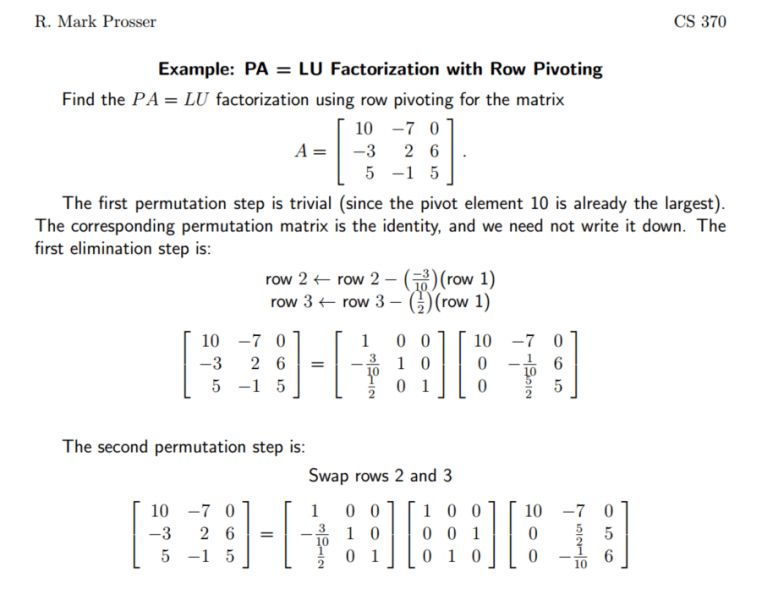 Have you done PA=LU factorization? | Physics Forums - The Fusion ...