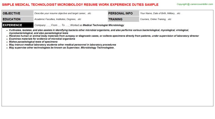 Medical Technologist Microbiology Job Title Docs