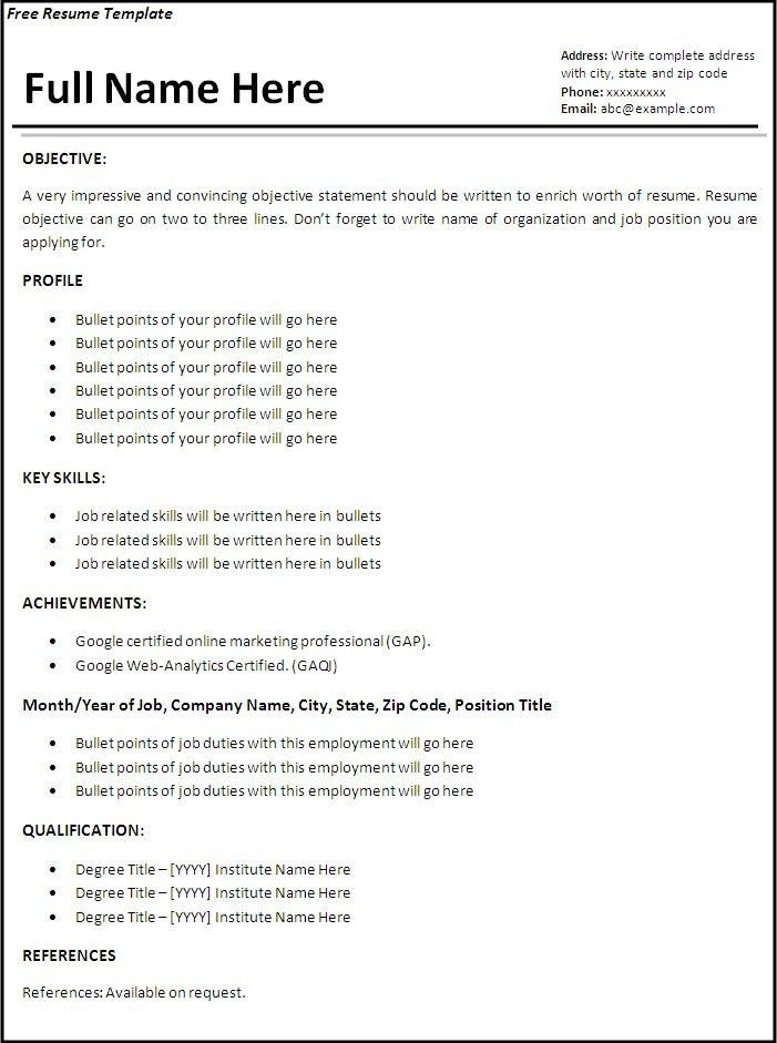 Free Sample Resume Templates | jennywashere.com