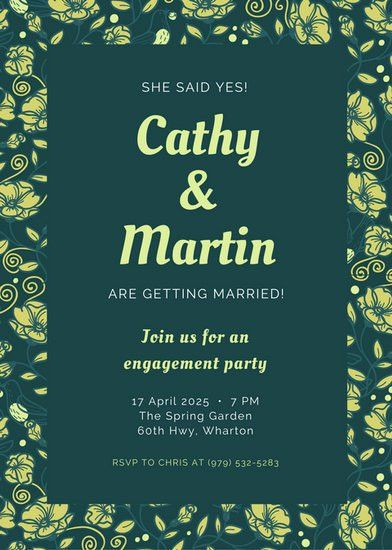 Yellow and Green Floral Engagement Party Invitation - Templates by ...