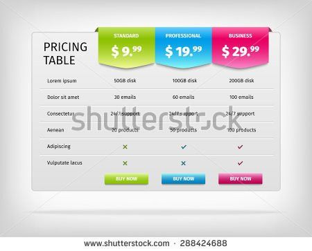 Pricing Table Template Business Plan Comparison Stock Vector ...