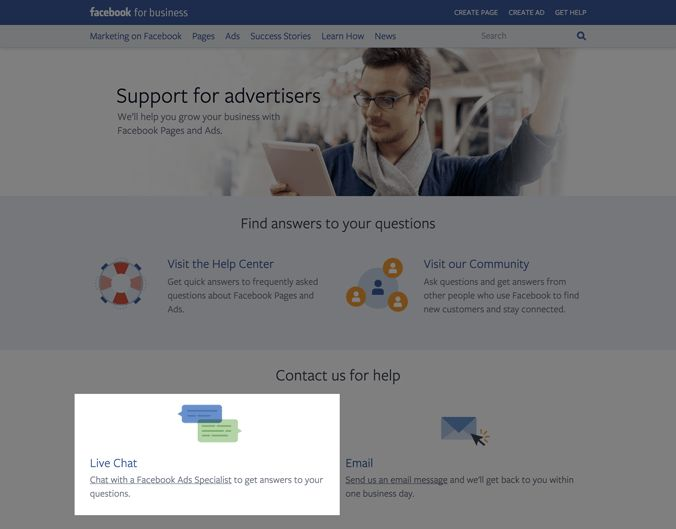 Facebook reveals a live-chat support feature for advertisers ...