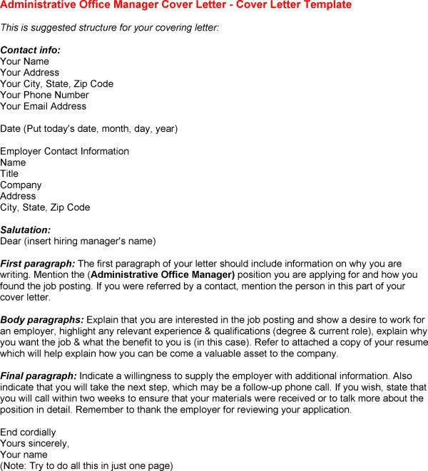 office manager cover letter example Quotes inside Cover Letter For ...