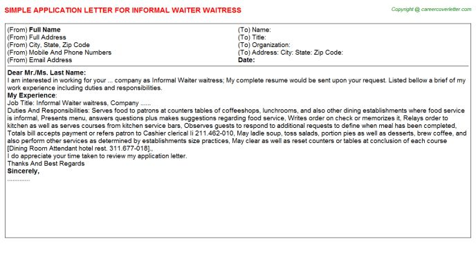 Informal Waiter Waitress Application Letter
