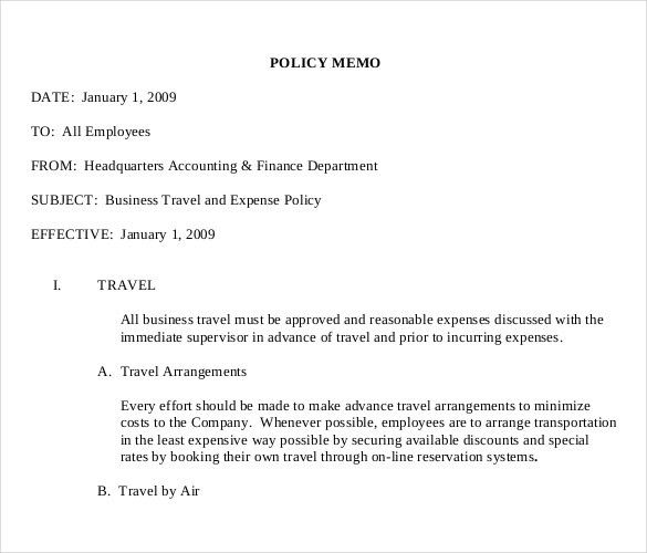 11+ Policy Memo Templates – Free Sample, Example, Format Download ...
