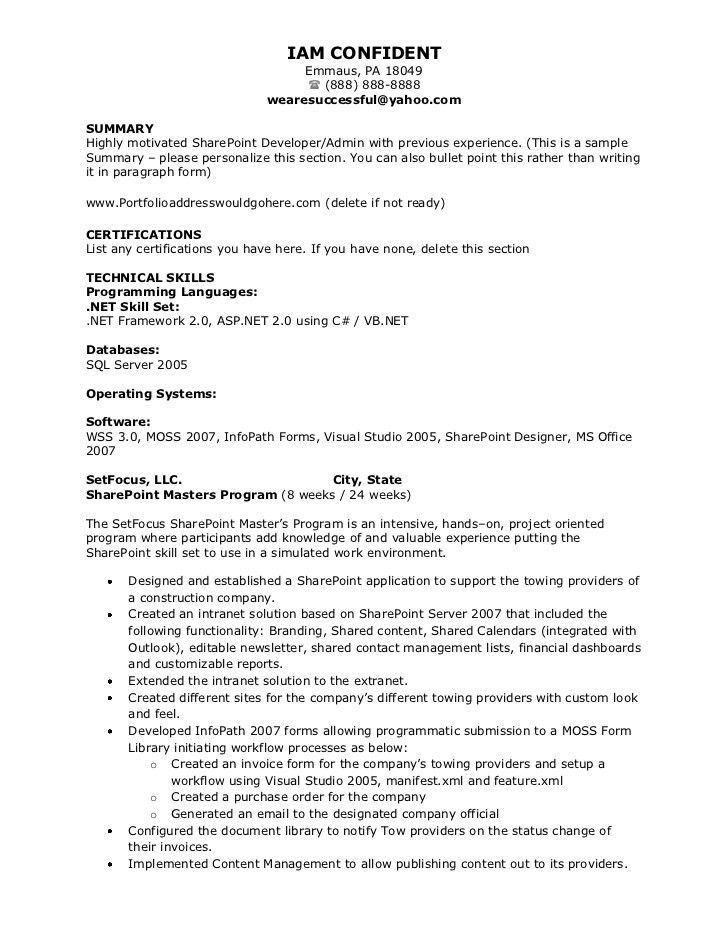 Sharepoint Developer Resume - Resume Example