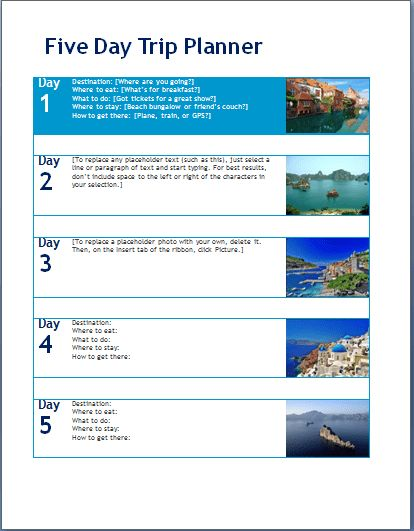 MS Word Five (5) Day Trip Planner Template | Word Document Templates