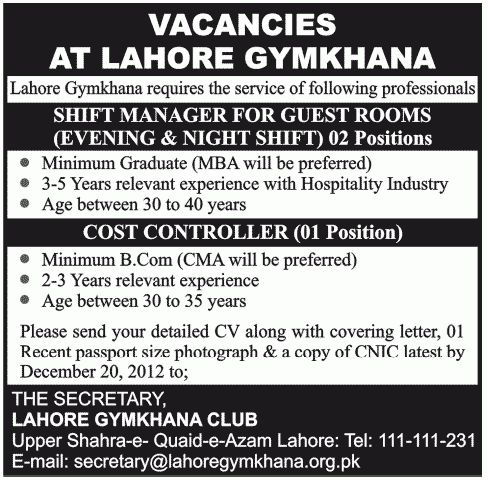 Night Shift Manager job, Lahore Gymkhana Club Job, Shift Manager ...