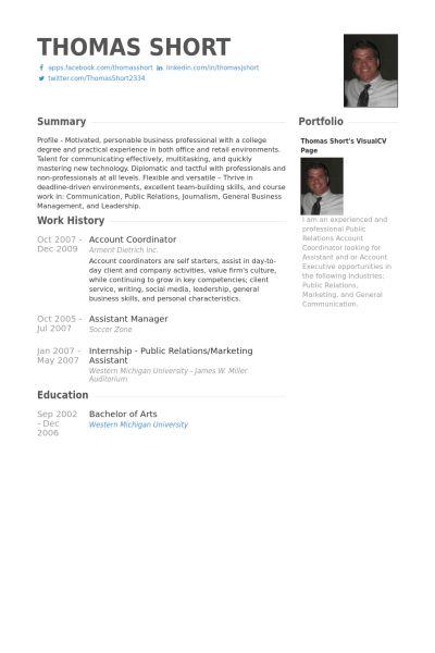 Account Coordinator Resume samples - VisualCV resume samples database