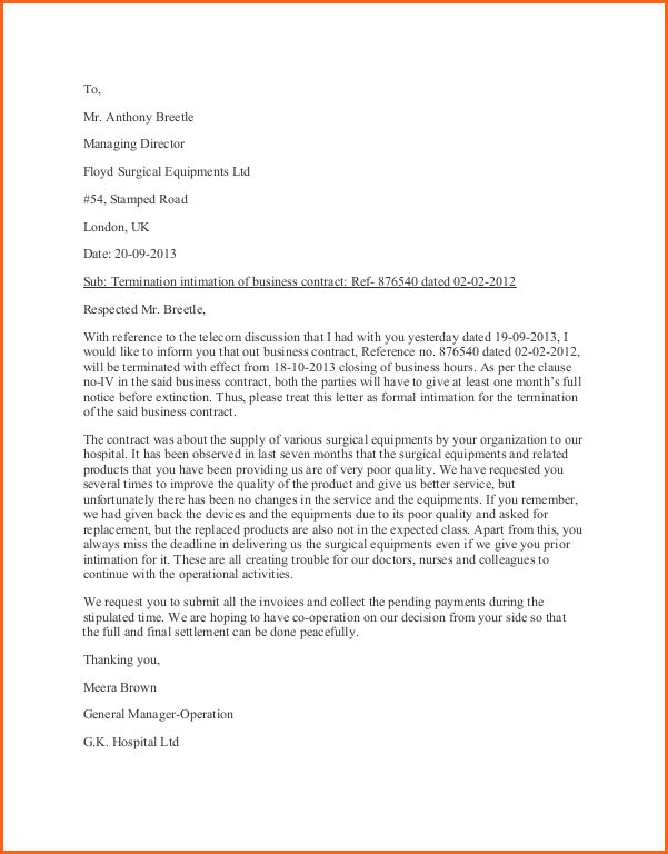 Business Termination Letter Template Or Samples For Your ...