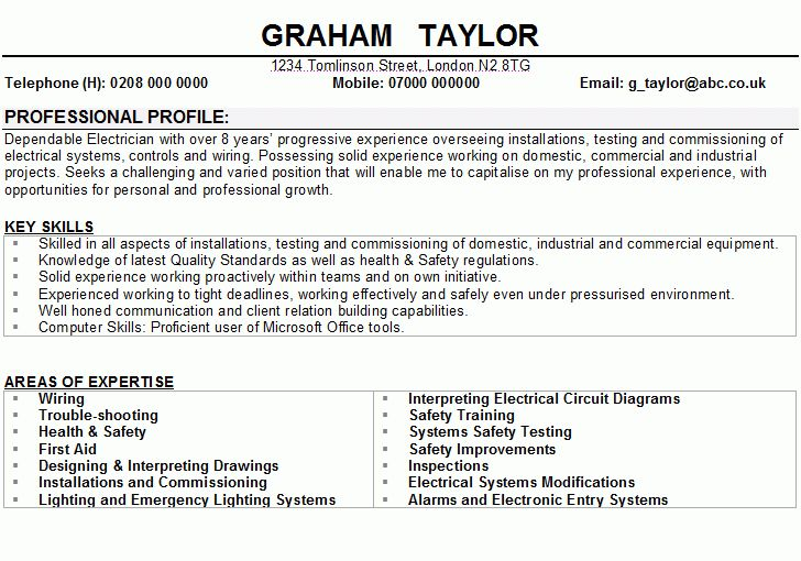 Electrician CV Sample