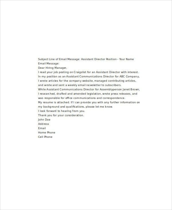 Application letter by email sample