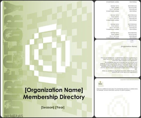 Membership Directory Template | Excel & Word Templates