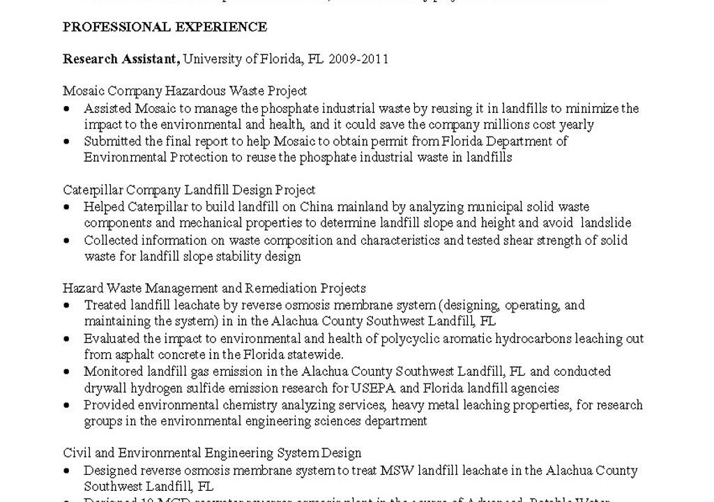 sample resume environmental engineer. collection of solutions ...