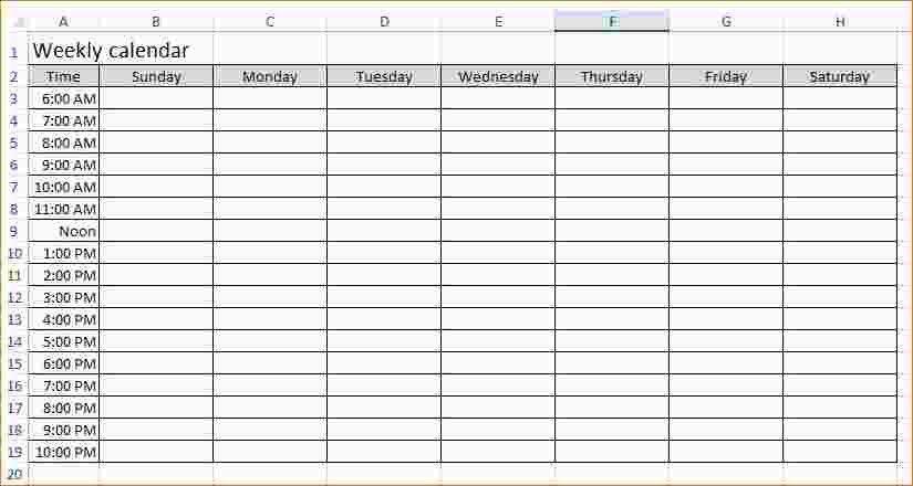 3 excel weekly calendar template | Ganttchart Template