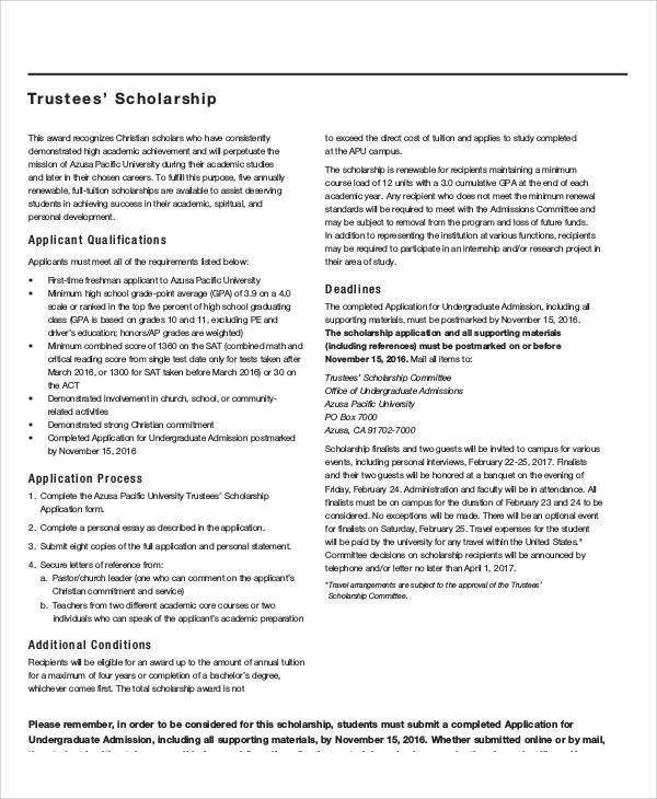Sample Scholarship Application Essay - 6+ Examples in Word, PDF