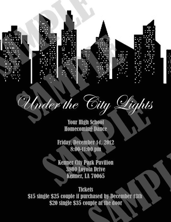 Under the City LIghts Prom/Homecoming by InvitasticInvites on Etsy ...